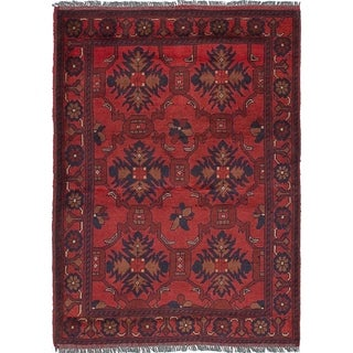 eCarpetGallery  Hand-knotted Finest Khal Mohammadi Red Wool Rug - 3'3 x 4'8