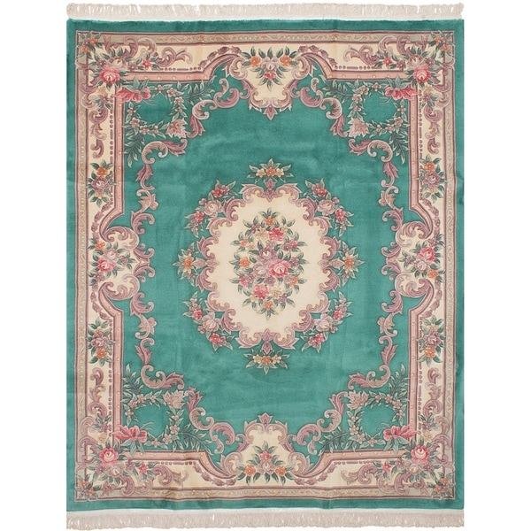 Shop ECarpetGallery Hand-knotted Aubousson Teal Wool Rug
