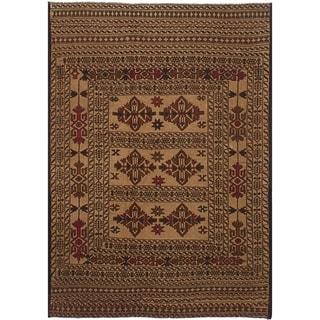 eCarpetGallery  Flat-weave Shiravan Sumak Tan Wool Sumak - 4'4 x 6'5