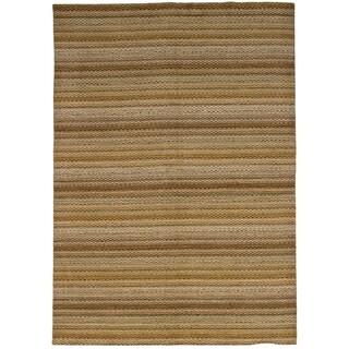 eCarpetGallery  Hand-knotted Luribaft Gabbeh Riz Brown Wool Rug - 6'7 x 9'6