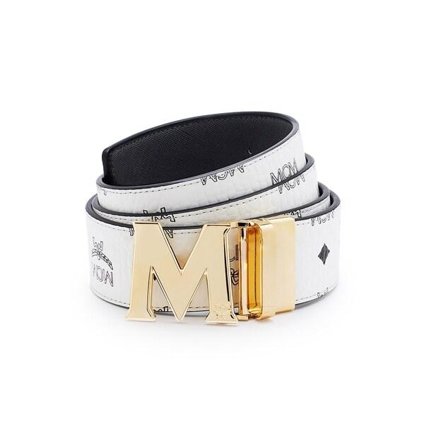 0e1454cfcbc Shop MCM Reversible Visetos Saffiano Leather Belt - On Sale - Free ...