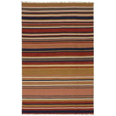 eCarpetGallery Flat-weave Kashkoli FW Light Brown, Red Wool Kilim - 5'0 x 7'10