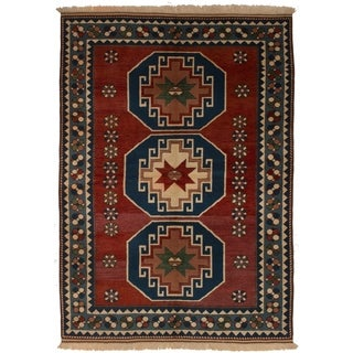 ECARPETGALLERY Hand-knotted Melis Red Wool Rug - 5'7 x 7'10