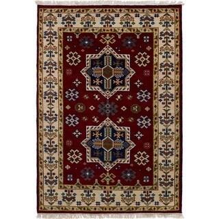 eCarpetGallery  Hand-knotted Royal Kazak Dark Red Wool Rug - 4'1 x 5'11