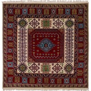 eCarpetGallery Hand-knotted Finest Kazak Red Wool Rug - 6'8 x 6'7