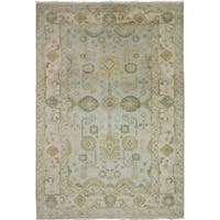 eCarpetGallery  Hand-knotted Royal Ushak Light Blue  Wool Rug - 6'2 x 9'0