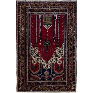 eCarpetGallery  Hand-knotted Anatolian Vintage Red Wool Rug - 3'7 x 5'7