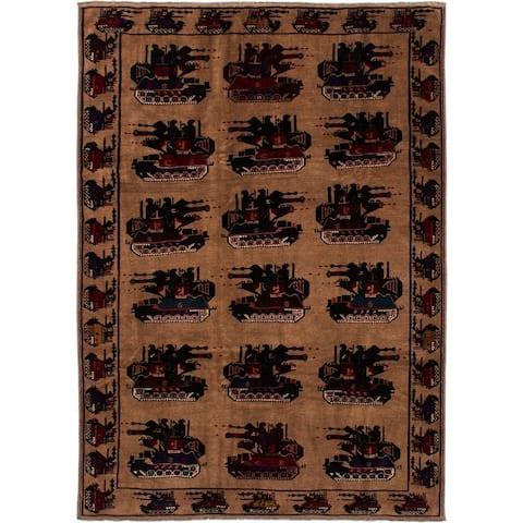 Hand-knotted Rare War Tan Wool Rug