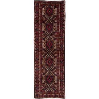 eCarpetGallery  Hand-knotted Teimani Dark Navy, Red Wool Rug - 3'7 x 11'7
