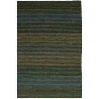 eCarpetGallery Flat-weave Manhattan Olive, Teal Wool Kilim - 6'0 x 9'1