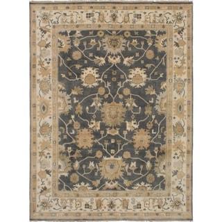 eCarpetGallery  Hand-knotted Royal Ushak Dark Grey Wool Rug - 7'8 x 10'2