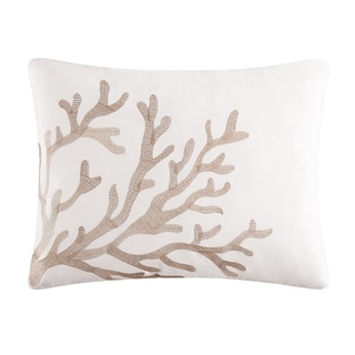 Coral Embroidered 14x18 Throw Pillow