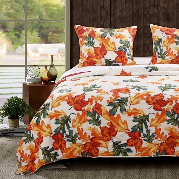 Barefoot Bungalow Falling Leaves Oversized Reversible Quilt Set