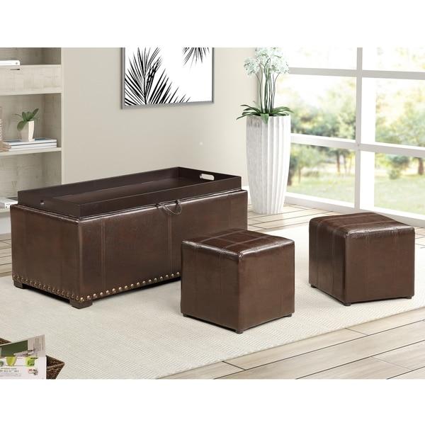 Leather Nailhead Storage Ottoman Bench Cube Set