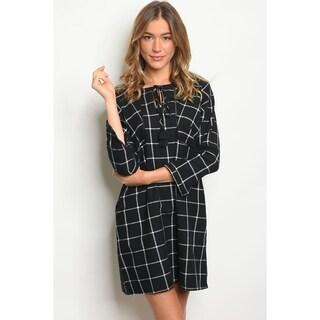 JED Women's Cotton Plaid Casual Short Dress