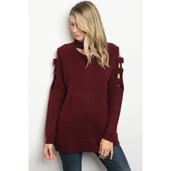 JED Women's Mock Neck Cut-Out Detail Burgundy Sweater