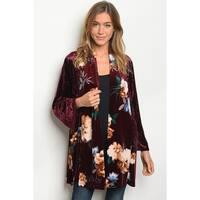 JED Women's Long Sleeve Velvet Kimono Cardigan