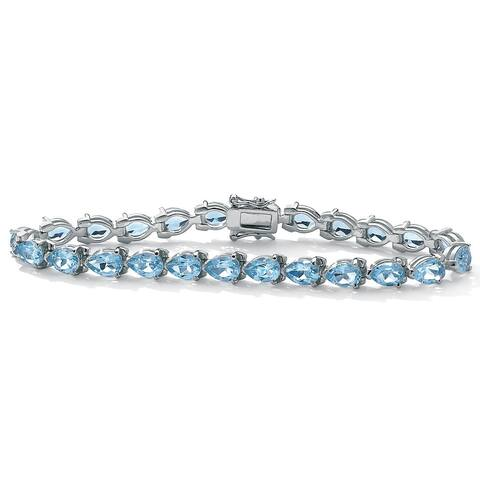 "Sterling Silver Tennis Bracelet Genuine Blue Topaz, 7.5"" (24 cttw)"