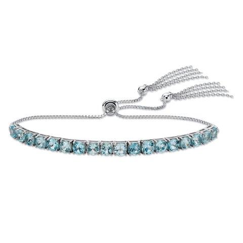 """Platinum over Sterling Silver Drawstring Bracelet Blue Topaz, 10"""""""