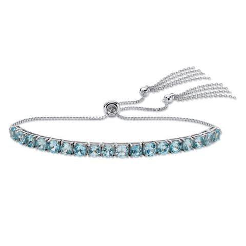 Platinum over Sterling Silver Drawstring Bracelet Blue Topaz, 10""