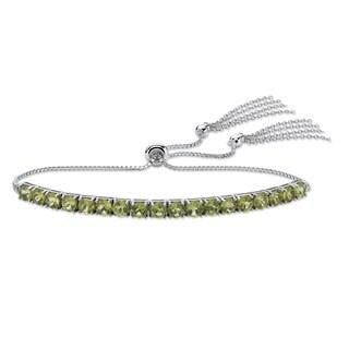 "Platinum over Sterling Silver Drawstring Bracelet Peridot 10"""