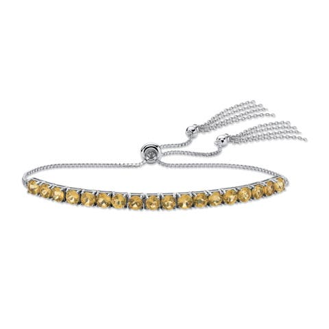 Platinum over Sterling Silver Drawstring Bracelet, Citrine, 10""