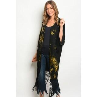 JED Women's Tie Dye 3/4 Sleeve Kimono Cardigan with Fringe
