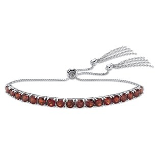 Platinum over Sterling Silver Drawstring Bracelet Garnet 10""