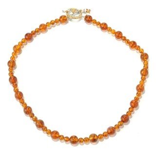 Michael Valitutti Palladium Silver Baltic Amber Bead & Orange Sapphire Toggle Necklace