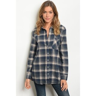 JED Women's Cotton Plaid Relax Fit Button Down Tunic Shirt