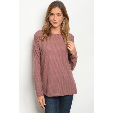 JED Women's Long Sleeve Waffle Knit Lace-Up Top