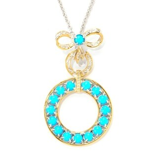 Michael Valitutti Palladium Silver Sleeping Beauty Turquoise Bow Circle Drop Pendant