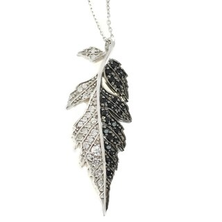 Michael Valitutti Sterling Silver Black Spinel & White Zircon Feather Pendant