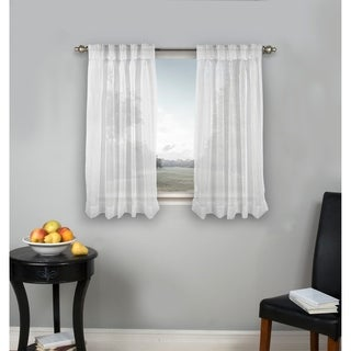 Palm Beach Pinch-Pleated Top with Back Tabs Short Curtain Panel Pair
