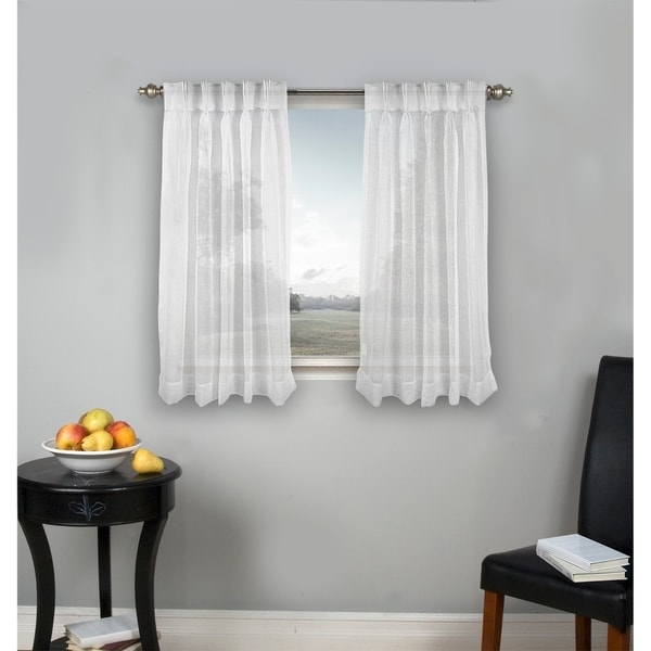 Palm Beach Pinch Pleated Top With Back Tabs Short Curtain Panel Pair