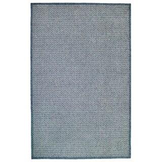 Plain Blue Wilton Wovern Outdoor Rug - 9'2 x 12'3