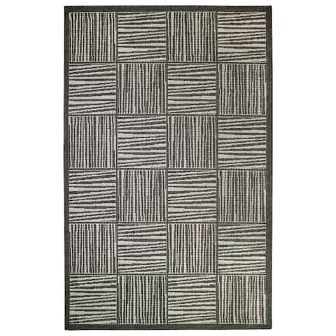 """Liora Manne Lines In Boxes Outdoor Rug (9'2"""" x 12'3"""")"""