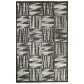 """Liora Manne Lines In Boxes Outdoor Rug (9'2"""" x 12'3"""") - 9'2"""" x 12'3"""""""