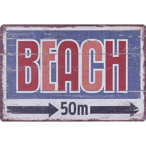8x12 BEACH Metal Plate Sign Wall Decor Signs Red Blue Multi Small for Home Office Cottage