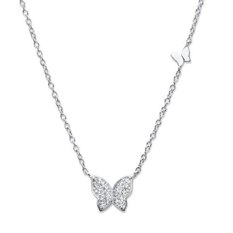 """Sterling Silver Butterfly Necklace, Cubic Zirconia, 18"""" + 2"""" extension"""