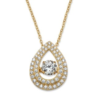 Gold over Sterling Silver Solitaire Pendant Cubic Zirconia