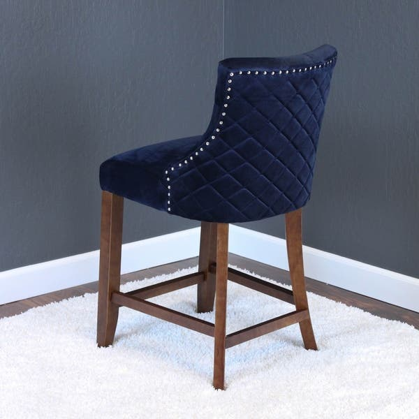 Awesome Shop Lemele Velvet Counter Chairs Set Of 2 On Sale Alphanode Cool Chair Designs And Ideas Alphanodeonline