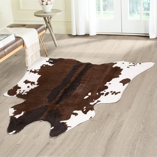 Asher Home Carter Faux Ivory and Brown Rawhide Rug (4'x4')