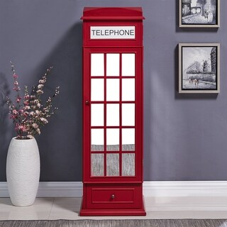 Harper Blvd Red Phone Booth Free Standing Jewelry Storage Armoire