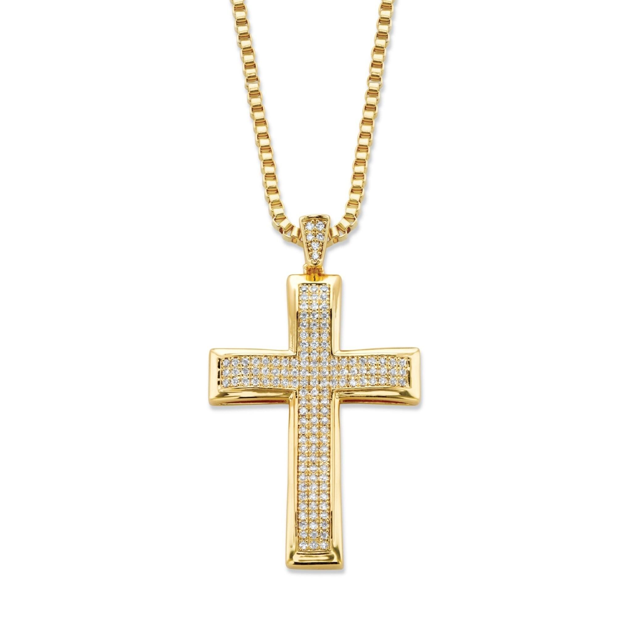 Shop Men S Yellow Gold Plated Cross Pendant 25mm Round Cubic Zirconia Overstock 22702127