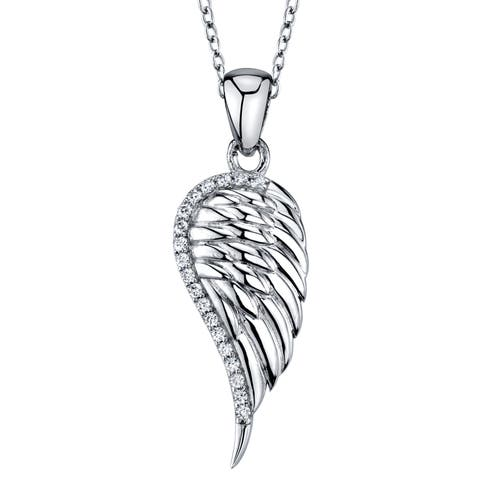"""Oliveti Sterling Silver Angel Wing Pendant Sparkling Cubic Zirconia Free 18"""" Rolo Chain"""
