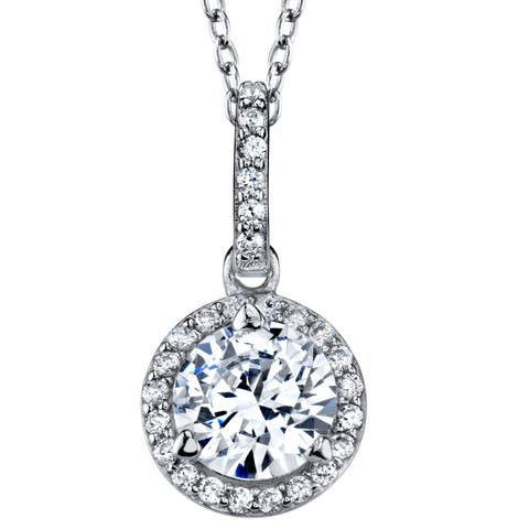 """Oliveti Sterling Silver 925 Round Cut Cubic Zirconia Pendant Free 18"""" Rolo Chain"""