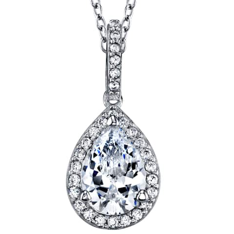 """Oliveti Sterling Silver Pear Shape Cubic Zirconia Pendant, Necklace Free 18"""" Rolo Chain"""