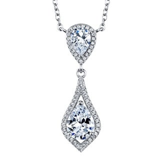 """Oliveti Sterling Silver Opera Pendant Sparkling Pear Cubic Zirconia adjustable 16-18"""" Chain"""