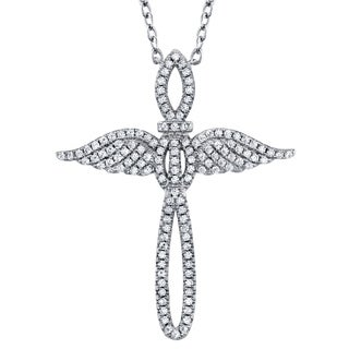 """Oliveti Sterling Silver Angel Cross Pendant Sparkling CZ adjustable Necklace 16""""-18"""" Rolo Chain"""